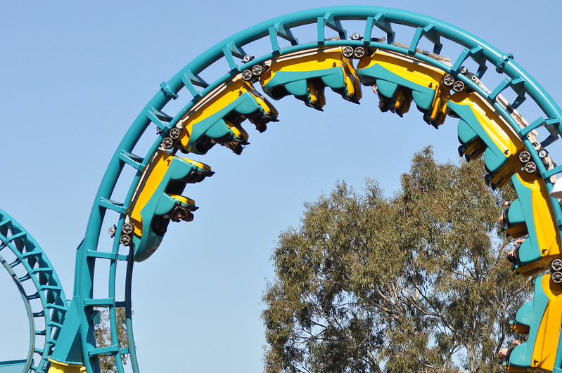 The wild Boomerang ride at Six Flags Discovery Kingdom