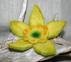 NARCISSUS - Needle Felted Brooch   by X by Leina Neima