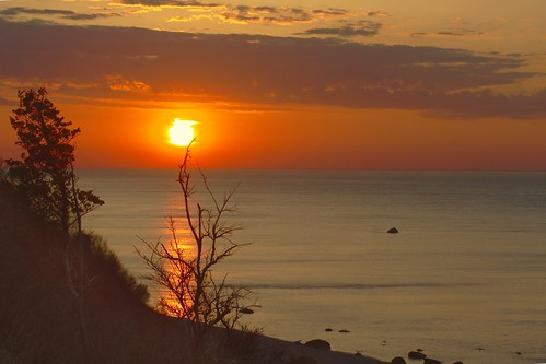 park sunset red sea sky sun tree water island long sound wildwood