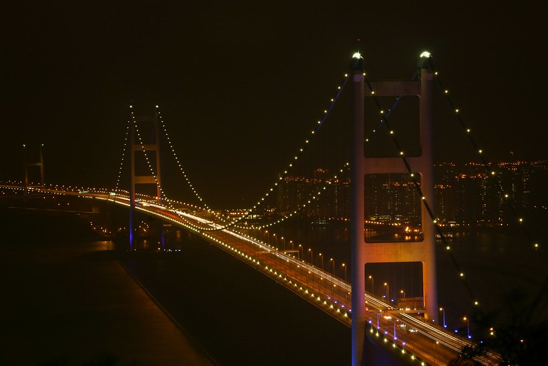 Hong Kong Tsing Man Bridge before Earth Hour