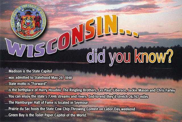 Wisconsin Did You Know Postcard