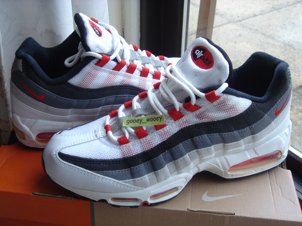 more photos 963b9 5abde ... Nike Air Max 95 White   Comet Red   Black (306251 161) (