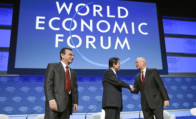 Ghosn, Aso, Schwab - World Economic Forum Annual Meeting Davos 2009