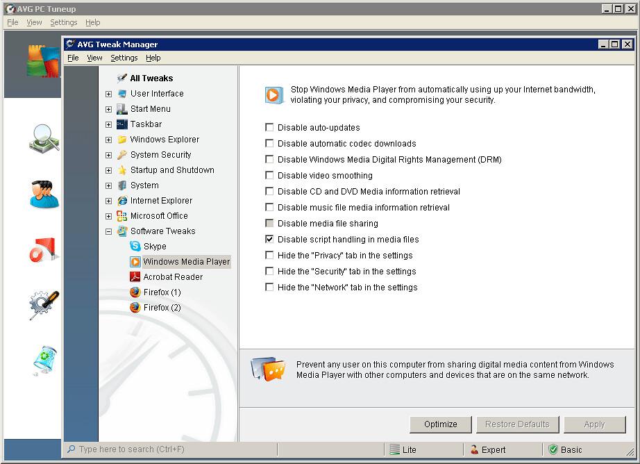 AVG Tweak Manager - Windows Media Player Optimizer   Flickr