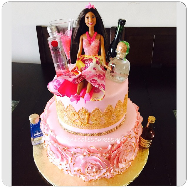 Surprising 21St Birthday Cake And Barbie Before The Turn Up Fondant Ruffle Funny Birthday Cards Online Bapapcheapnameinfo
