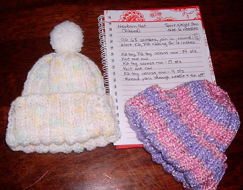 Stretchy Ribbed Newborn Hat - In the Round   by Shandeh