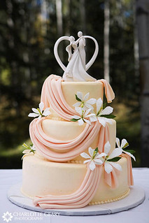 Orange wedding cake with cake topper | by Charlotte Geary