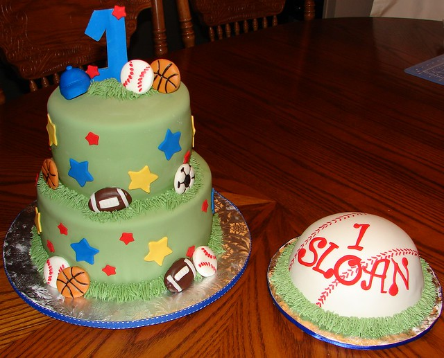 1st Birthday Sports Theme and Baseball Smash Cake