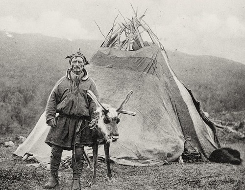 Saami man with Lavvo and reindeer Lyngen Troms 1909 | by saamiblog