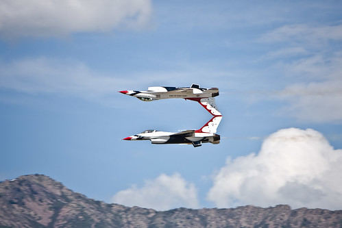 Thunderbirds at Hill AFB Airshow 2009 - Touching Tails   by Aaron Barker