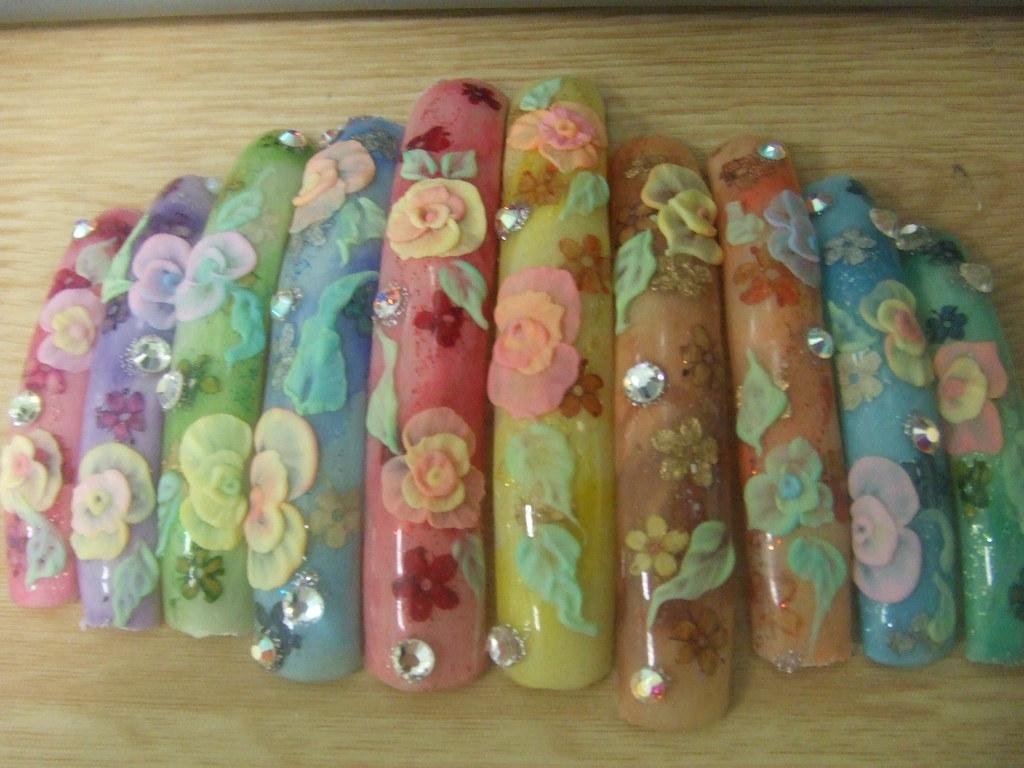 Flores 3d Uñas Decoradas Con Acrilicos De La Coleccion Sav