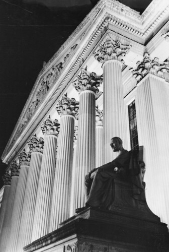 Photograph of the National Archives Building at Night at the Pennsylvania Avenue Entrance, 1972 | by The U.S. National Archives