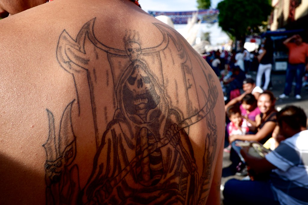 Santa Muerte tattoo at her shrine in Tepito, Mexico City