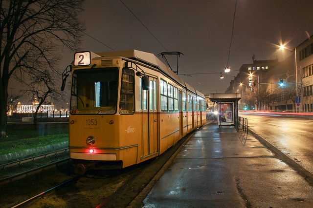 Budapest at night - the tram No. 2 at the Zsil street station