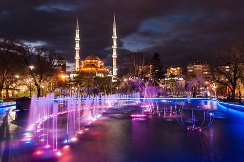 longexposure fountain architecture night turkey cityscape turkiye mosque konya