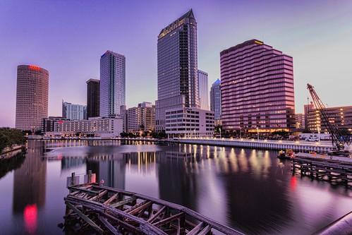 america sunrise tampa dawn downtown cityscape unitedstates tampabay florida fl gulfcoast canon60d