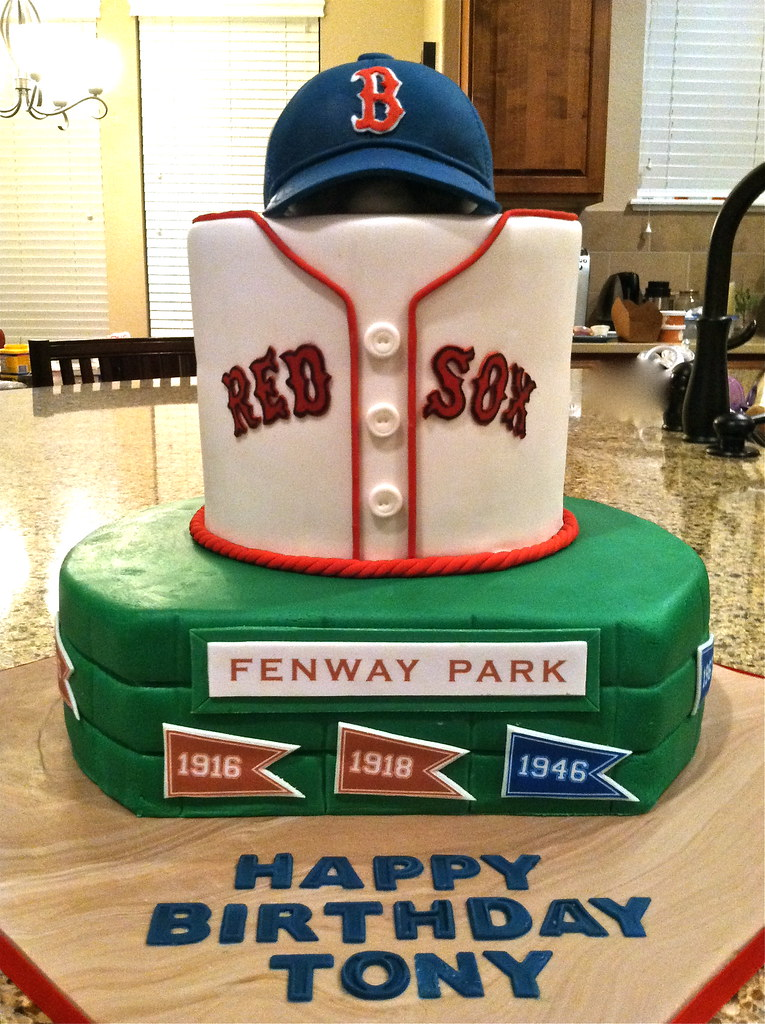 Wondrous Boston Red Sox Birthday Cake Happy 40Th Birthday Tony Flickr Personalised Birthday Cards Paralily Jamesorg