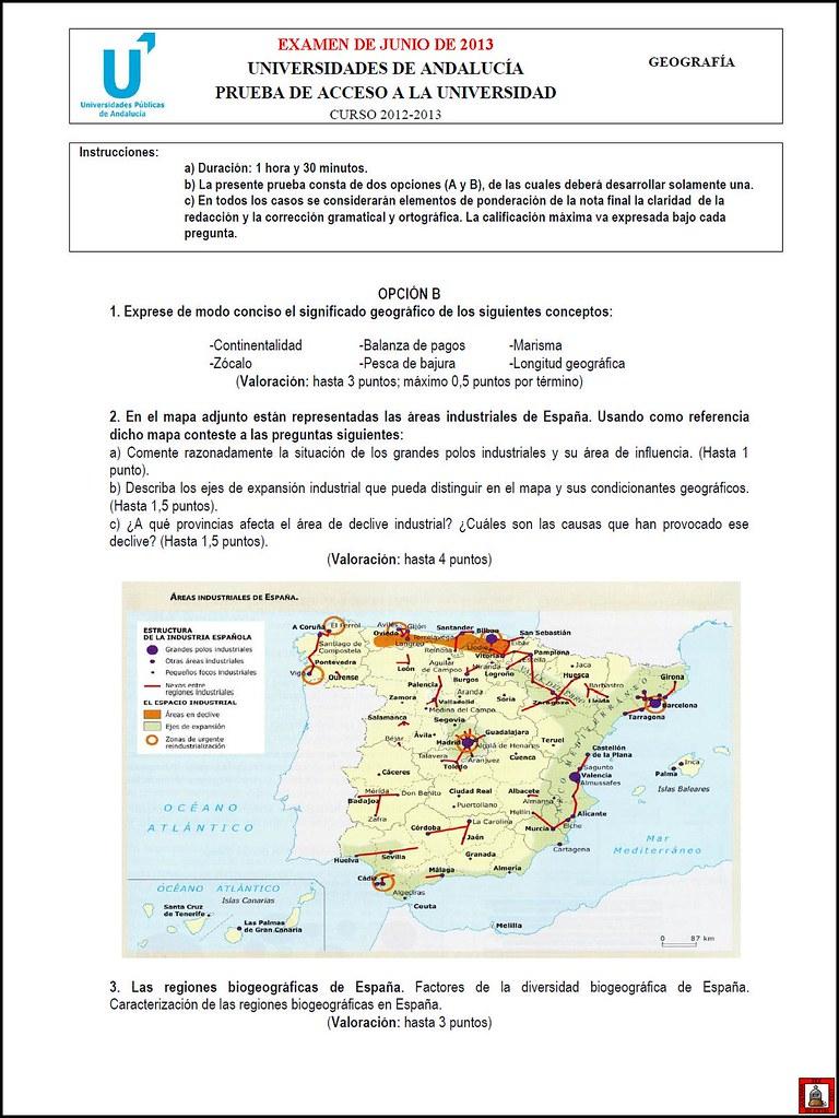2012 2013 Geografía 1 Examen De Junio Opción B Flickr