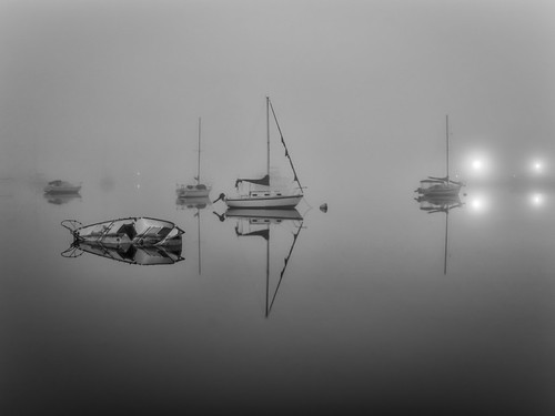 bw black blackandwhite boat centralflorida cocoa florida fog ir infrared landscape mist reflection river sailboat sky usa water watercraft white lights sunk sunken longexposure lowlight edrosackcom