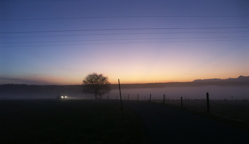im Morgendunst unterwegs