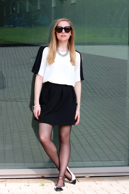 Black skirt and bicolor blouse