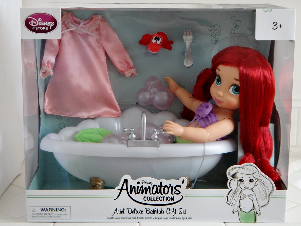 Disney Animators Collection Ariel Doll Deluxe Bathtub Gift Set--new