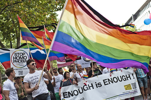 """Enough is enough – Open your mouth!"", Demonstration against homophobia in Russia 