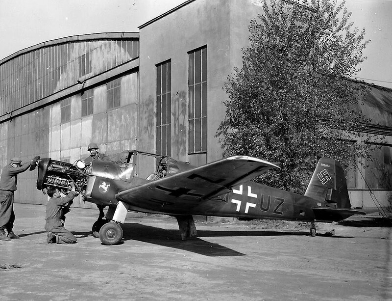 A captured German Messerschmitt Bf-108