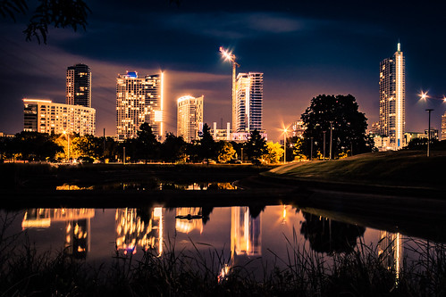 longexposure summer reflection water skyline architecture night austin us cityscape texas exterior unitedstates officebuilding highrise towerblock