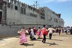 Traditional Filipino dancers perform as USNS Millinocket (JHSV 3) arrives in San Fernando City, Aug. 4.  (U.S. Navy/Lt. j.g. Jacqui Maxwell)