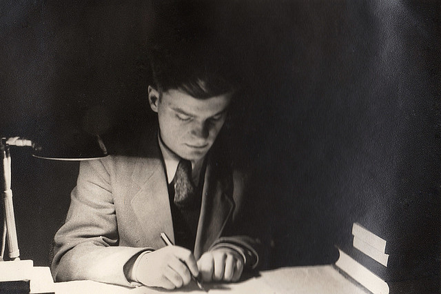 From an album recently discovered at my mom's house. A rather noire shot of my dad studying for a college exam wearing a suit and tie. That's what people did back then. He majored in electrical engineering.  New Haven Connecticut. Feb 1952