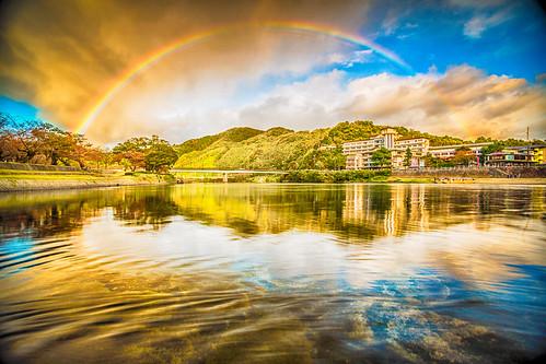 bridge water japan rainbow surreal hdr iwakuni kintai kintaikyu