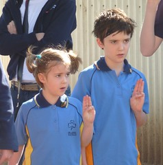 Two young Guides reaffirming their Guides Promise in the year of the Guides Centenary 10/10/2010