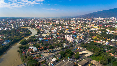 aerialphotography aerialview architecture asianculture buildingexterior city citylife cityscape downtowndistrict dronephotography highangleview illuminated mountainrange mountainsandsky night nopeople oldtown outdoors road riverview sky skyscraper traveldestinations urban landscape urbanskyline thailand asia chiangmai river
