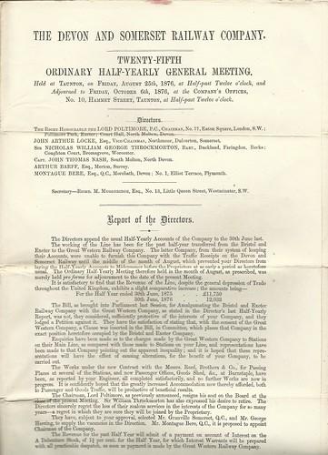 Devon and Somerset Railway 1876 Directors report | by ian.dinmore