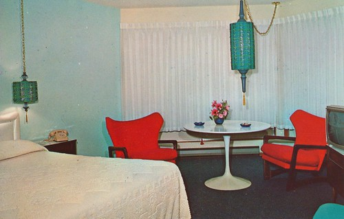vintage washington interior postcard motel portangeles uptown