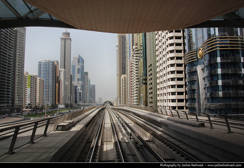 View along SZR from Financial Centre Metro Station, Dubai, United Arab Emirates | by JH_1982