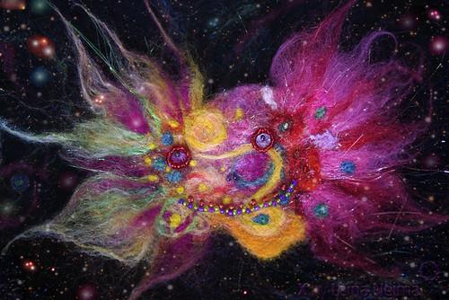 The LAUGHING CLOWN NEBULA -Needle Felted Wearable Art Brooch (XBY000-12) /Naerva Klouni Udukogu - vilditud pross | by X by Leina Neima