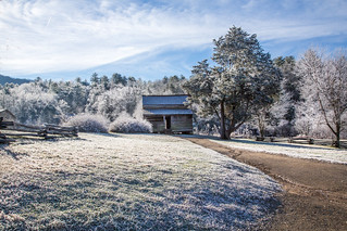 Cabin in Cades Cove, with snow on the ground | by Marianne Venegoni