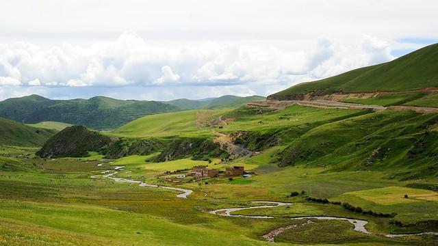 River meanders through a vast landscape of Dardo county, Tibet 2014