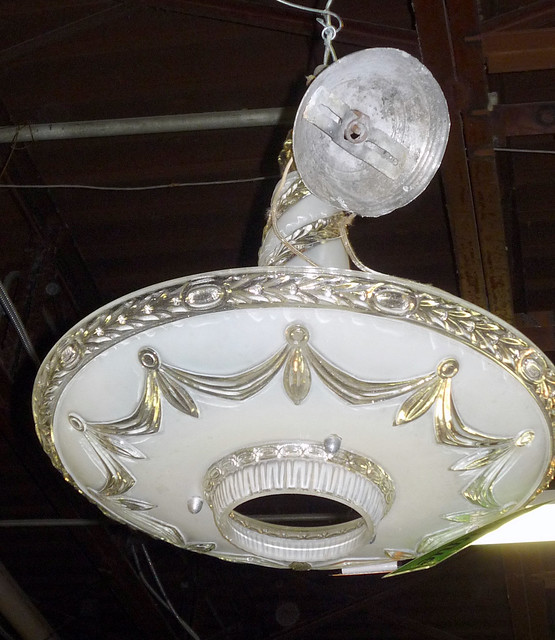 Pressed glass hanging light fixture