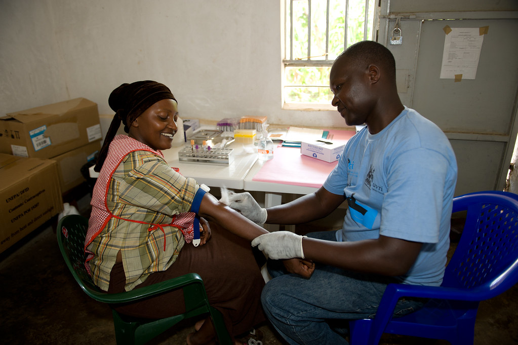 Woman prepares for HIV test