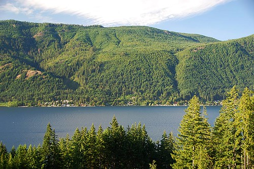 Youbou viewed across Cowichan Lake, Vancouver Island, British Columbia, Canada