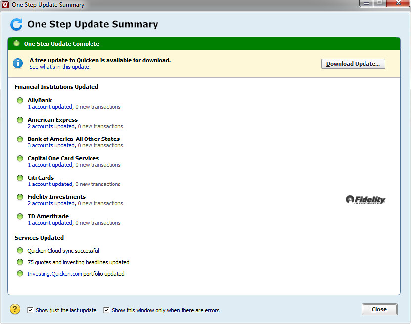One step update summary - A free update to Quicken is avai
