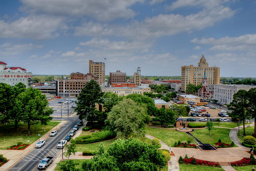 Monroe, LA from atop the St. Frances Hospital parking garage looking north   by finchlake2000