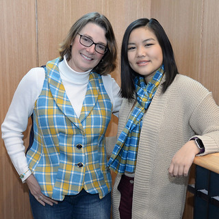Wed, 02/01/2017 - 11:56 - Donna Rae Sutherland (l), wearing the GCC tartan vest made by Min Muchler (r).