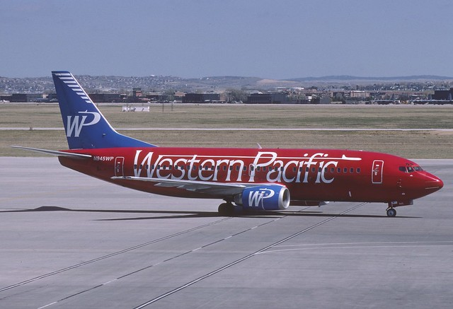 Western Pacific Airlines Boeing 737-300; N945WP@COS, May 1997