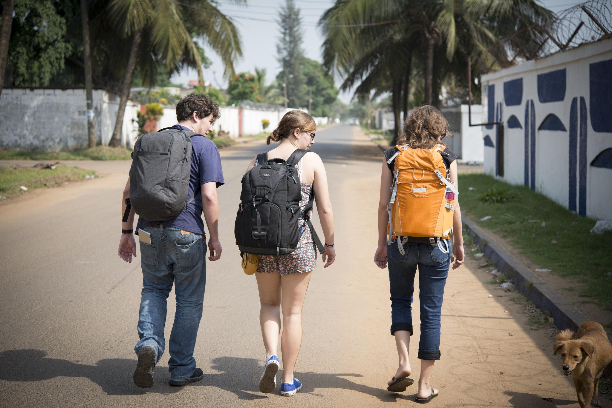 MPD Graduate students Jim Tuttle, Kristina Subsara, Jessica Suarez taking their first walk on the streets of Monrovia, Liberia.