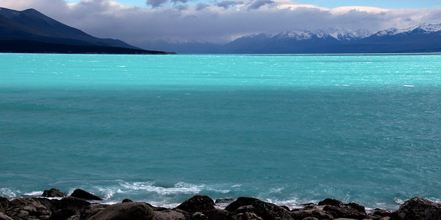 Lake Pukaki.Glacier blue waters