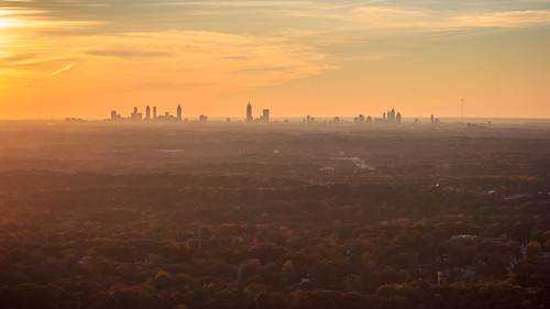 View of Downtown Atlanta Skyline at Sunset from Stone Mountain Summit